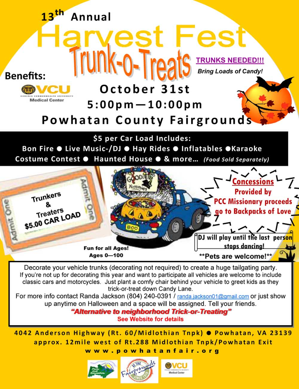 2018 Powhatan Fall Festival - Trunk o Treat Halloween